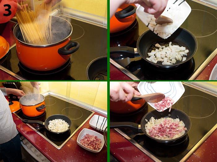 Paso 3: Elaboración espagueti carbonara