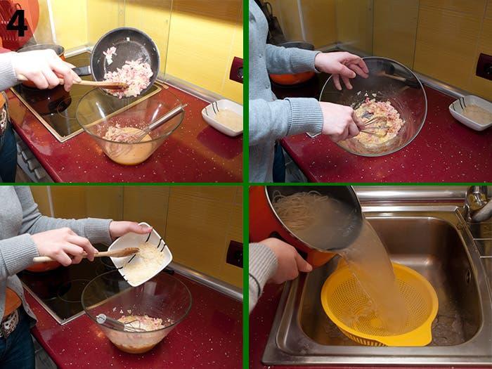 Paso 4: Elaboración espagueti carbonara