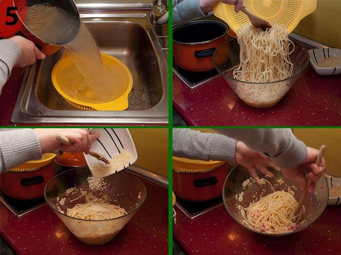 Paso 5:Elaboración Espagueti Carbonara