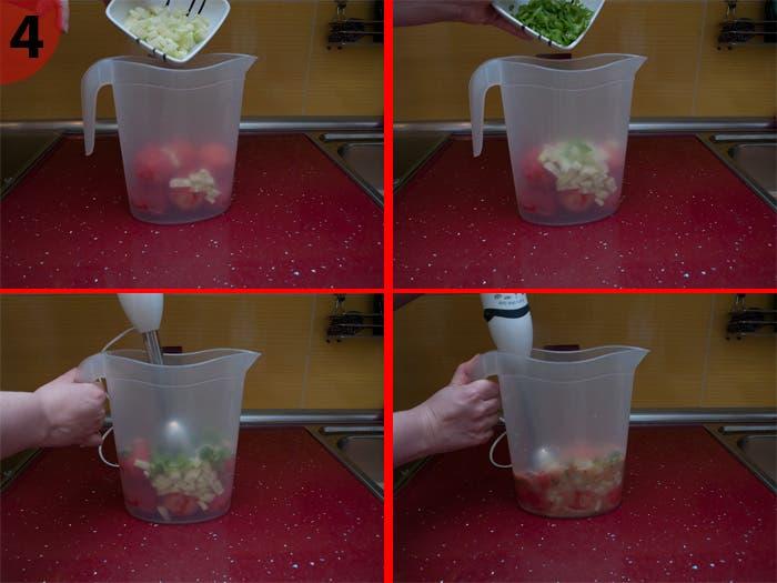 Triturando las verduras para el gazpacho