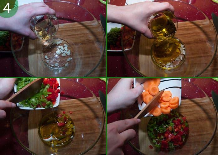 Paso 4: preparar vinagreta e incorporar primeros ingredientes