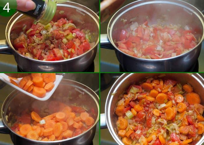Paso 4 de la elaboración de la salsa de zanahoria