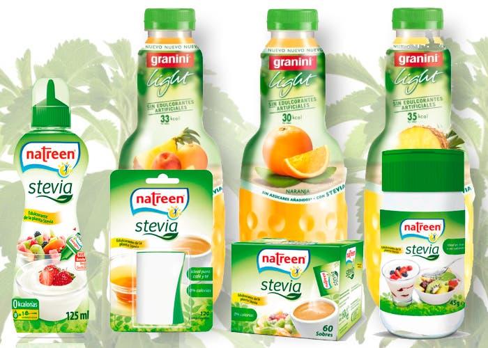 Varias marcas de productos que usan o vente stevia para su consumo
