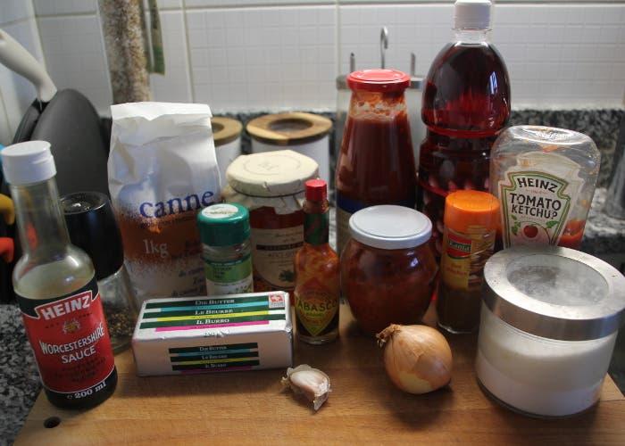 Ingredientes para la salsa barbacoa
