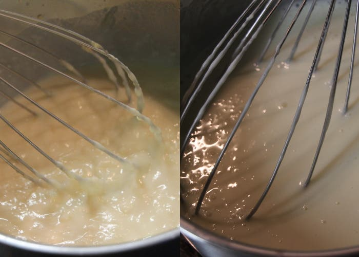 Paso 3 de la salsa bechamel, remover