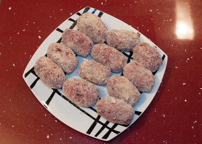 Croquetas de remolacha antes de freír