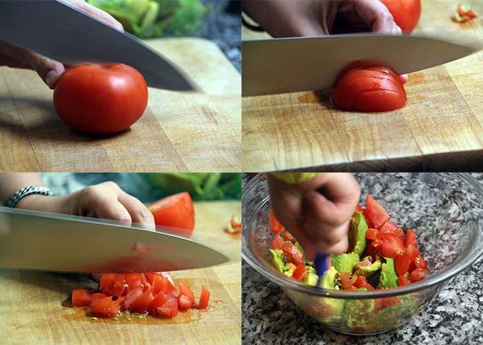 Paso 1 del guacamole, tomate