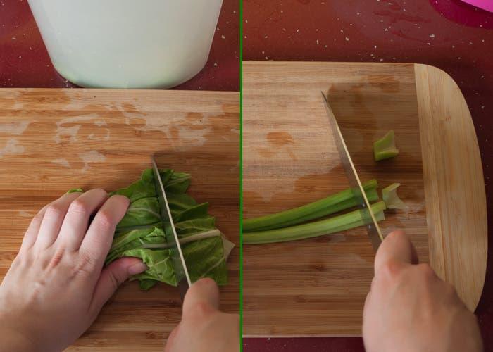 Paso 2 de la elaboración del zumo verde