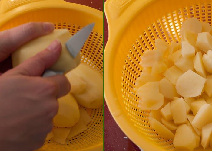 Paso 1 de la elaboración de la tortilla español