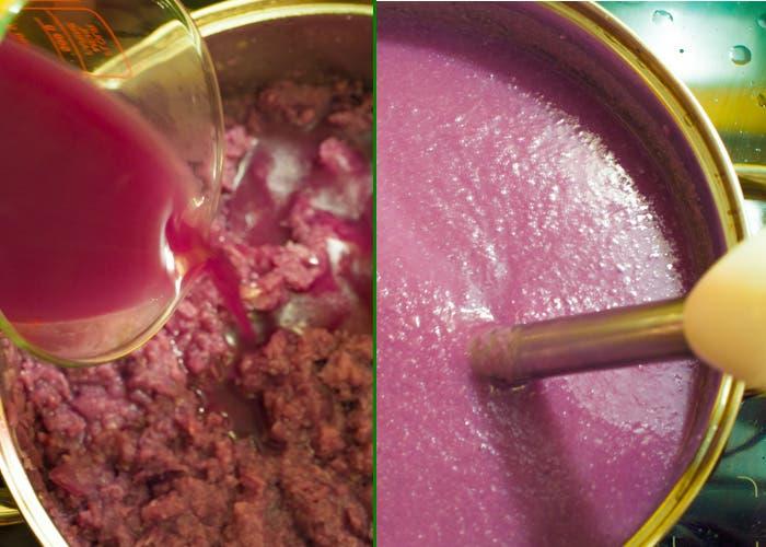 Paso final de la elaboración de la crema de lombarda