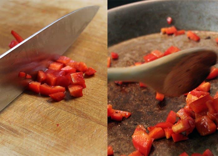 Paso 4 de la paella mixta, pimiento