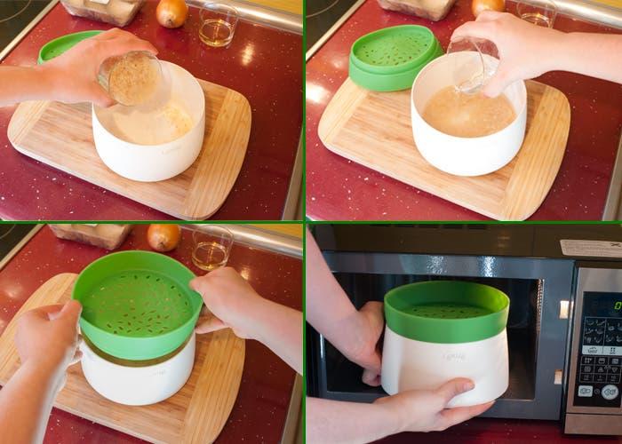 Preparando arroz en el microondas con Rice&Grain de Lékué