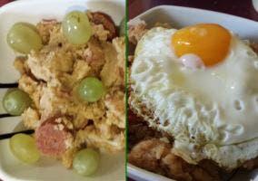 Migas con uvas y huevo frito terminadas