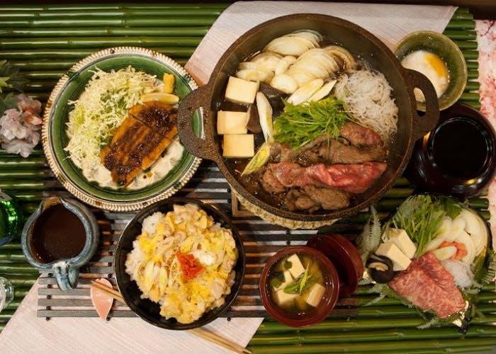 Muestra de platos del Stand de Japón