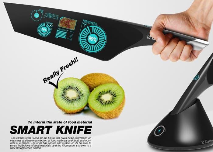 Cuchillo inteligente que detecta la frescura del alimento