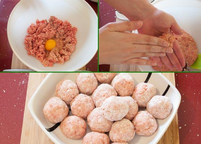 Preparación de albóndigas para la salsa