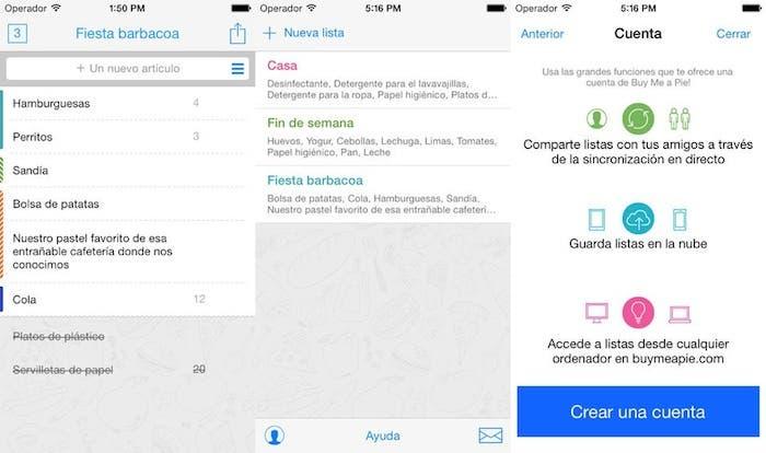 aplicaciones lista de la compra iOS