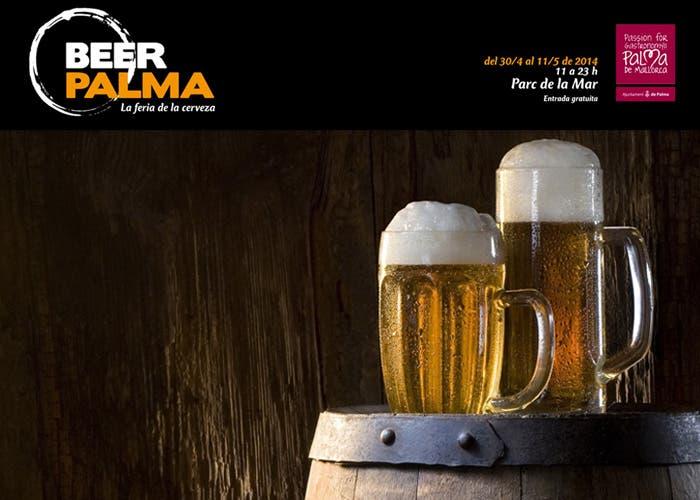 Cervezas sobre barril y logotipo Beer Palma