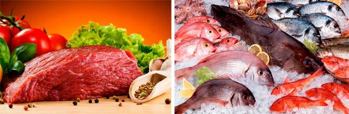 Carne y pescado antes de cocinar