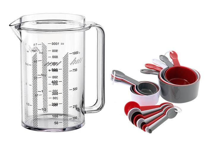 Vaso y cucharas medidoras