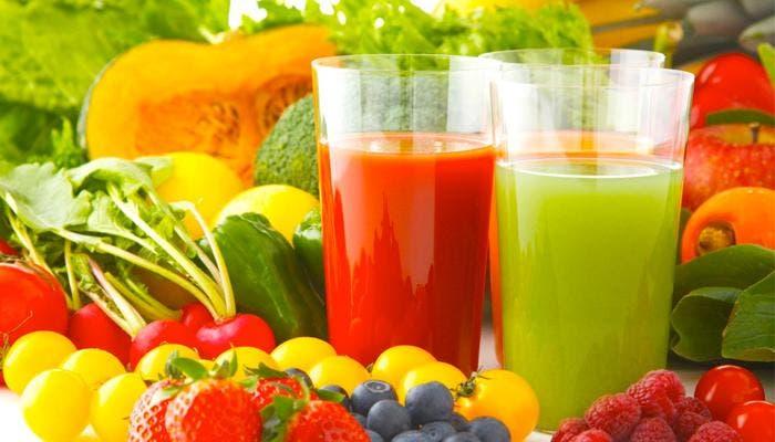 Zumos diuréticos y varios vegetales