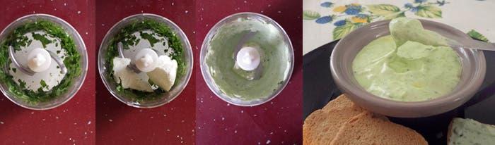Preparación queso en crema con albahaca