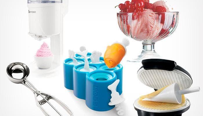 Varios utensilios para helados