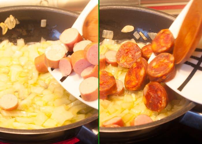Paso 3 macarrones con chorizo, dorar ingredientes