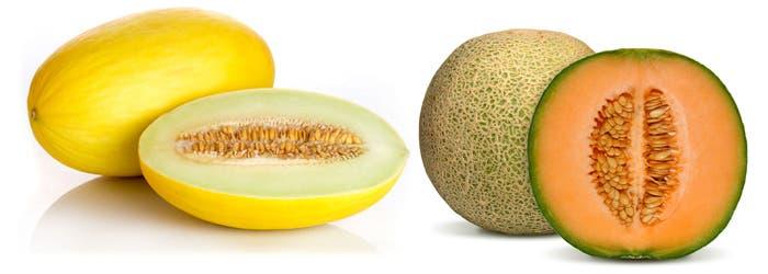 Variedad de melón amarillo y Cantaloup