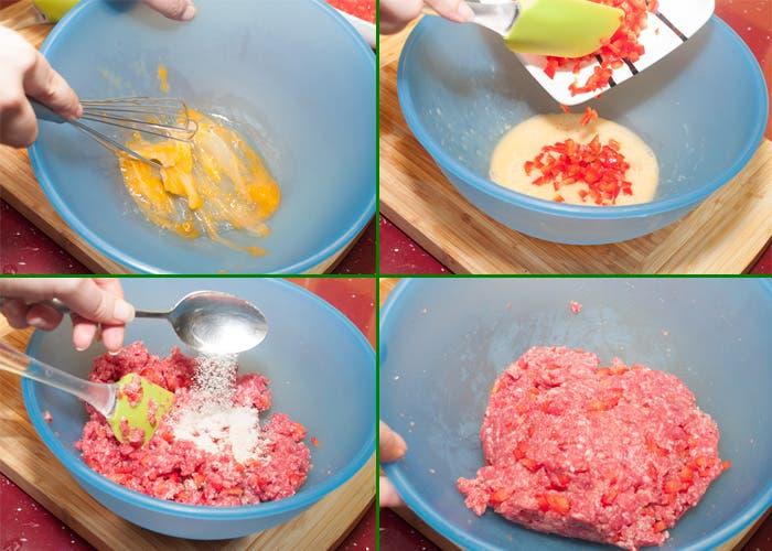 Proceso de preparación de la carne para hamburguesa
