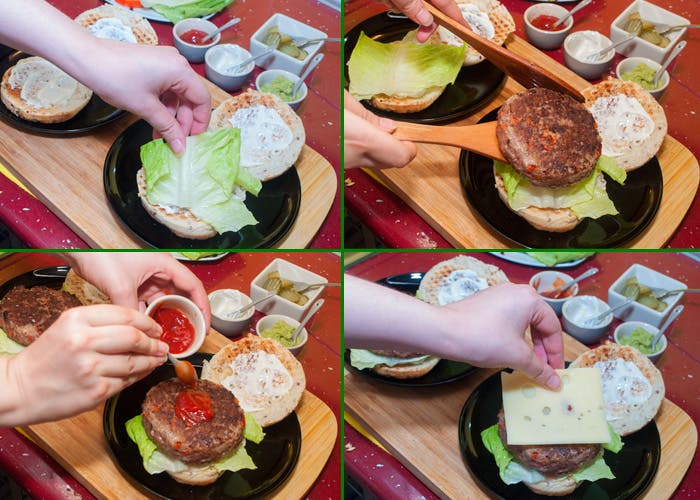 Primeros pasos para montar hamburguesa