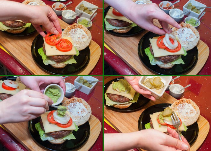 Últimos pasos para montar hamburguesa