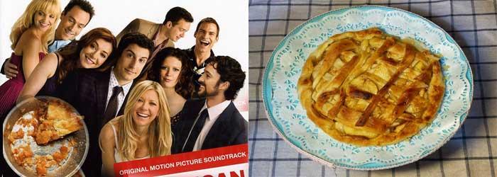 Cartel de la película American pie y tarta de manzana