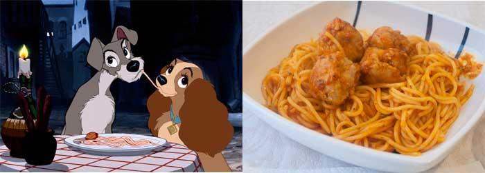 Escena de la dama y el vagabundo con espaguetis con albondigas
