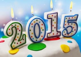 Pastel con velas de 2015