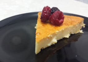 Detalle de la tarta de queso