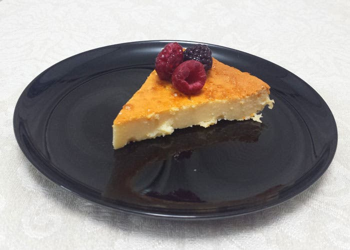 Presentación de tarta de queso