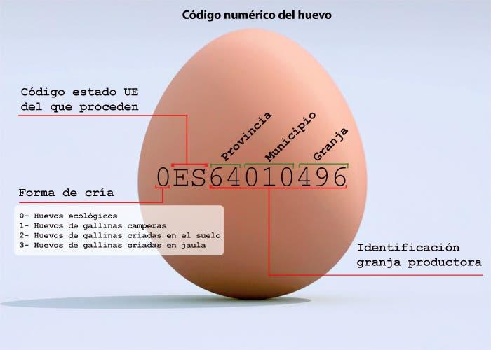 Esquema con significado del código en los huevos
