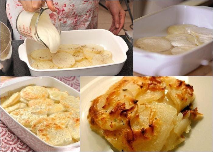 Receta de suprema de pollo al verdeo con gratín de patatas