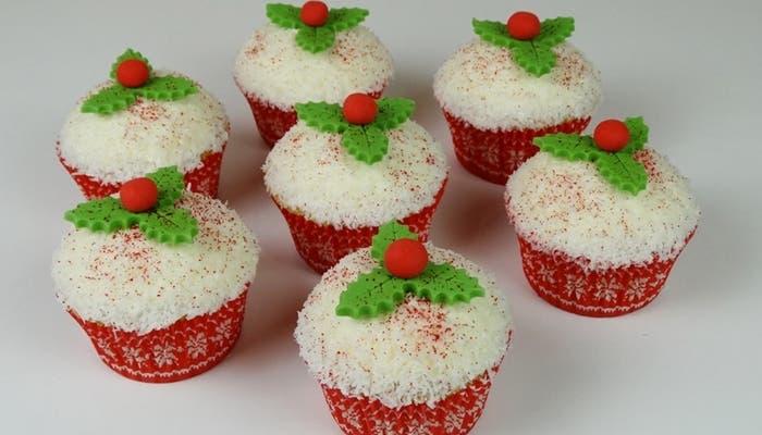 Cupcakes de coco para navidad
