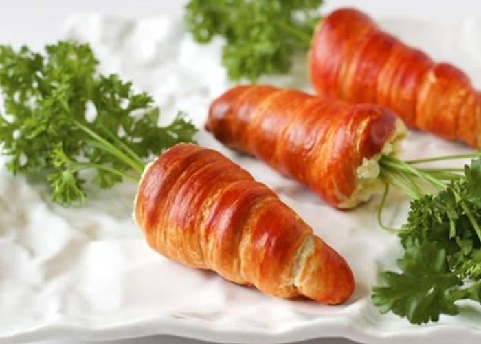 Zanahorias rellenas envueltas en hojaldre, receta paso a paso