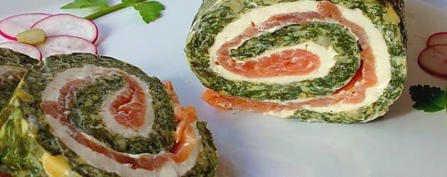 Arrollado de espinacas y salmón