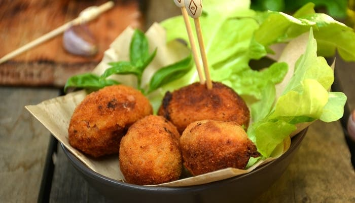 plate full of home-made croquettes of ham