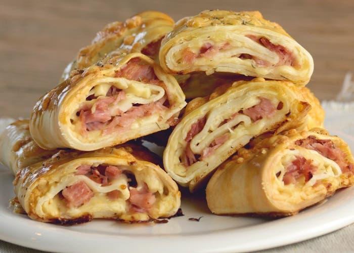Receta de rolls queso mozzarella y jamón
