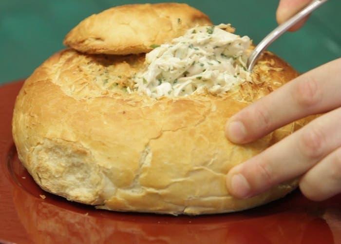 Panes de campo rellenos de pollo, receta paso a paso
