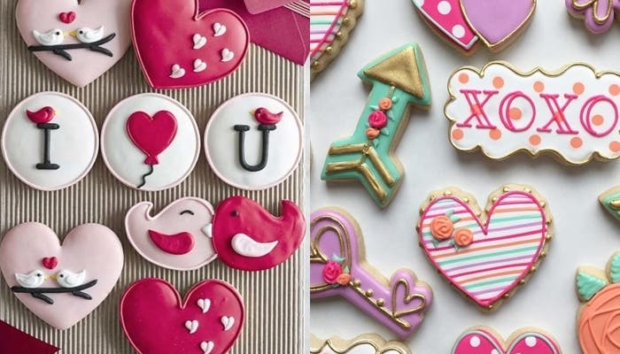 Galletas decoradas con royal icing para San Valentín