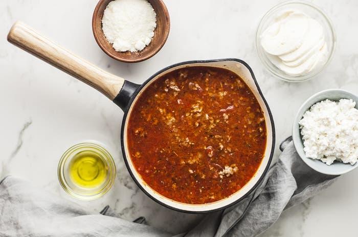 Receta de lasaña con salsa de carne