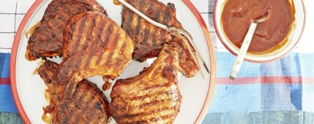 Receta de chuletas de cerdo esmaltadas con barbacoa de borbón