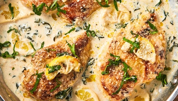 Receta de pollo con salsa cremosa de limón y parmesano