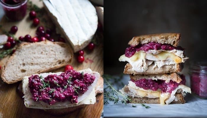 Receta de sándwiches de pavo con queso brie y mostaza de arándanos